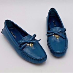 Prada Teal Blue Patent Leather Bow Logo Drivers